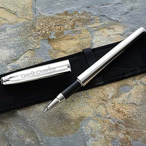 Personalized Nickel Plated Roller Ball Pen - 3720