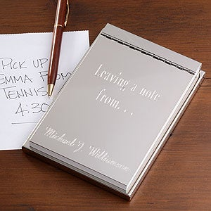 Engraved Silver Flip Notepad - Signature Design - 3722