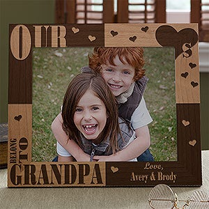 Personalized Engraved Wood Photo Frames - Our Hearts Belong to Him - 3783