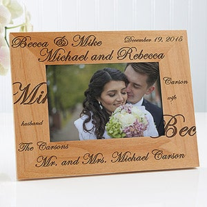 ... personalized wedding frame, custom engraved for the new bride and