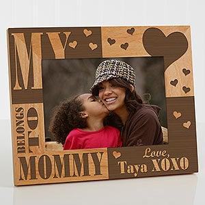 Personalized Wood Picture Frames - Our Hearts Belong to Her Frame - 3867