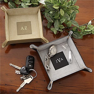 Personalized Suede and Leather Valet Tray - Snap Design - 3868