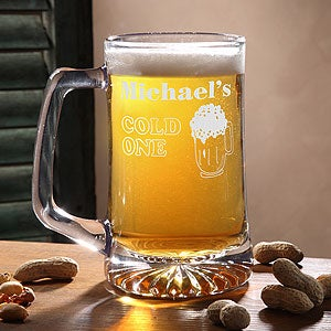 Personalized Glass Beer Mugs - Cold One Design - 3887