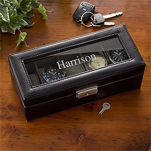 Personalized Monogram Leather Watch Box - 3901