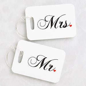 Personalized Luggage Tags Travel Set - Mr and Mrs Collection - 3921