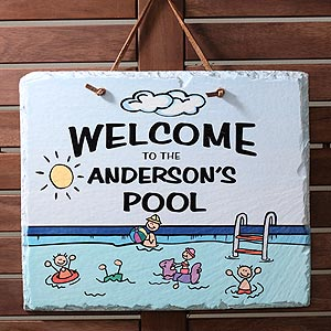 Welcome to Our Pool Personalized Slate Sign - 3923