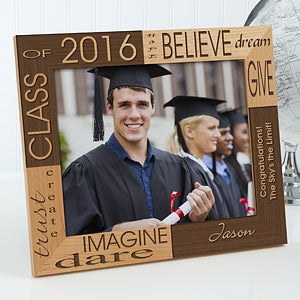 Engraved Graduation Wooden Picture Frame - Hope Dream and Believe - 4000