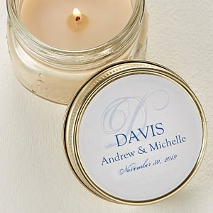 Personalized Candle Tin Favors - Elegant Monogram - 4002