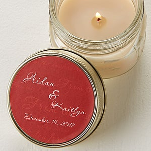 Personalized Mason Jar Candle Tin Wedding Favors - 4006