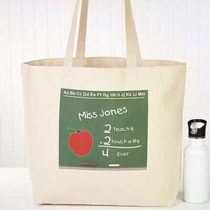 Personalized Teacher Chalkboard Jumbo Canvas Tote Bag - 4041