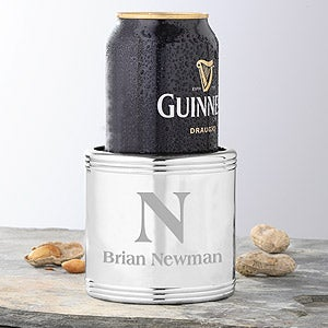 Personalized Silver Beverage Cooler With Initial and Name - 4043