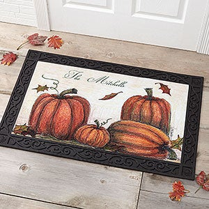 Personalized Autumn Pumpkin Welcome Door Mats - 4190