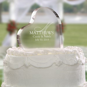Heart Shaped Personalized Wedding Cake Topper - Elegant Monogram - 4195