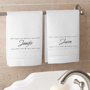 Personalized Linen Guest Towel Sets - Fleur de Lis Design - 4217