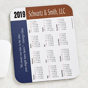 Personalized Calendar Grey Border Mouse Pad with Custom Quote - 4231
