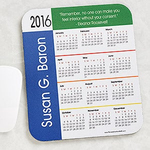 Personalized Calendar Primary Colors Border Mouse Pad with Custom Quote - 4233