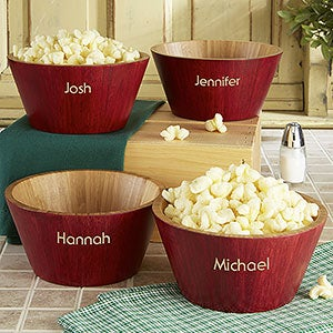 Hardwood Personalized Popcorn Bowl Set Large For The Home