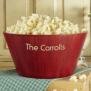 Hardwood Personalized Popcorn Bowl Set - 4242