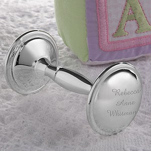 Personalized Silver Plated Baby Rattle - 4252