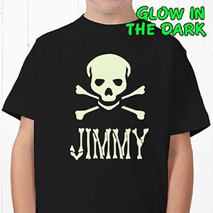 Personalization Mall Personalized Glow In The Dark Skull Kids Halloween T Shirt at Sears.com