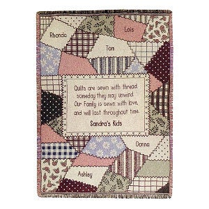 Personalized Family Heirloom Patchwork Quilt Afghan - 4304D