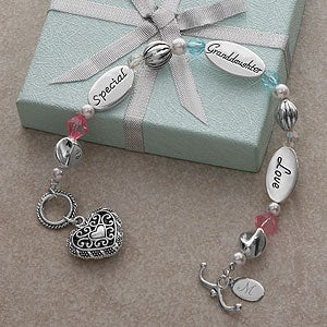 Engraved Sterling Silver Granddaughter Charm Bracelet - 4318