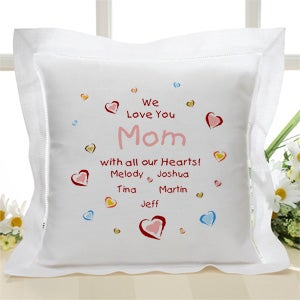 Personalized Linen Throw Pillow for Mom - All Our Hearts - 4322