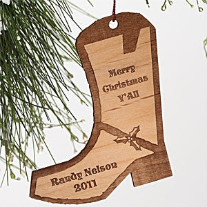 Personalization Mall Personalized Cowboy Boot Wood Christmas Ornament at Sears.com