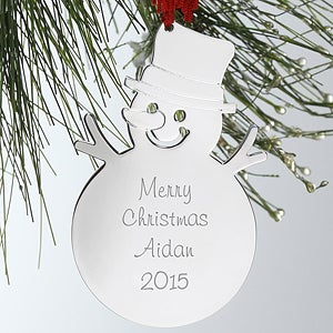Engraved Silver Personalized Snowman Christmas Ornament - 4379