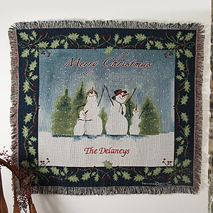Personalization Mall Personalized Snow Family Heirloom Tapestry Afghan Blanket at Sears.com