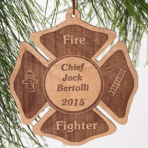 Personalization Mall Personalized Fire Fighter Wood Christmas Ornament at Sears.com