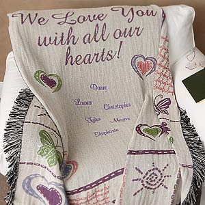 All Our Hearts Personalized Afghan for Women - 4439