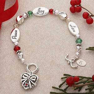 Peace, Joy, Love Silver Monogram Bracelet