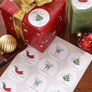 Custom Gift Label Set - Seasons Greetings Design - 4457