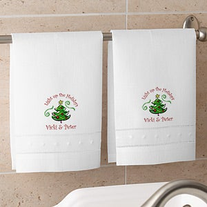 Personalized Seasons Greetings Linen Guest Towel Set - 4460