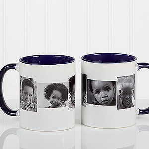 Personalized Photo Collage Coffee Mugs 5 Pictures Blue