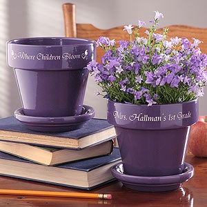 Personalized Teacher's Flower Pots - 4498