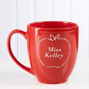 Personalized Teacher Red Apple Coffee Mug - 4516
