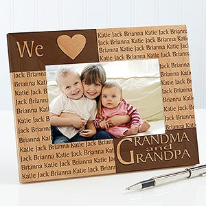 personalized wood picture frame with engraved names 4524