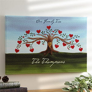 Personalized Family Tree Watercolor Canvas Art - 4545