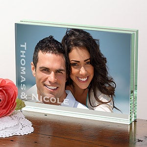 Custom Engraved Glass Block Photo Frame - 4553