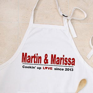 Personalized Apron and Potholder Set - Cooking Up Love Design - 4564