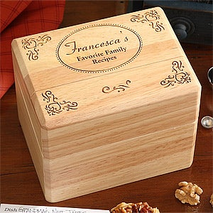 Engraved Wooden Recipe Box - Family Favorites - 4595