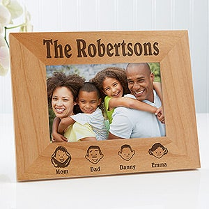 Engraved Family Characters Wood Picture Frame - 4599