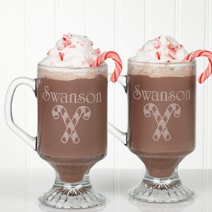 Personalized Holiday Spirit Glass Coffee Mug Set - 4679