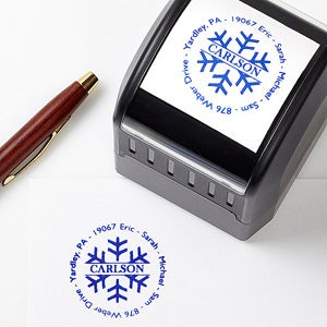 Personalized Self Inking Stamper With Snowflake - Square - 4682
