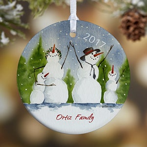 Snowman Family Personalized Porcelain Christmas Ornaments