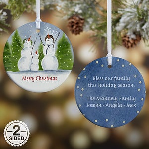Snowman Family Personalized Porcelain Christmas Ornaments - 4687