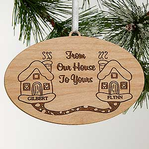 Personalized Engraved Wood Christmas Ornament - Our House To Yours - 4701
