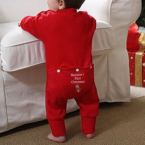 cea3aced2502 Personalized Baby's First Christmas Clothes, Outfits, Apparel and ...
